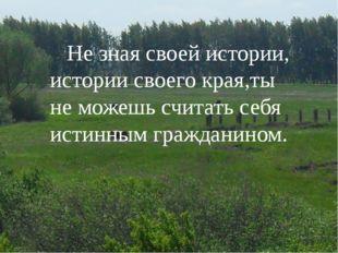 Не зная своей истории, истории своего края,ты не можешь считать себя истинны