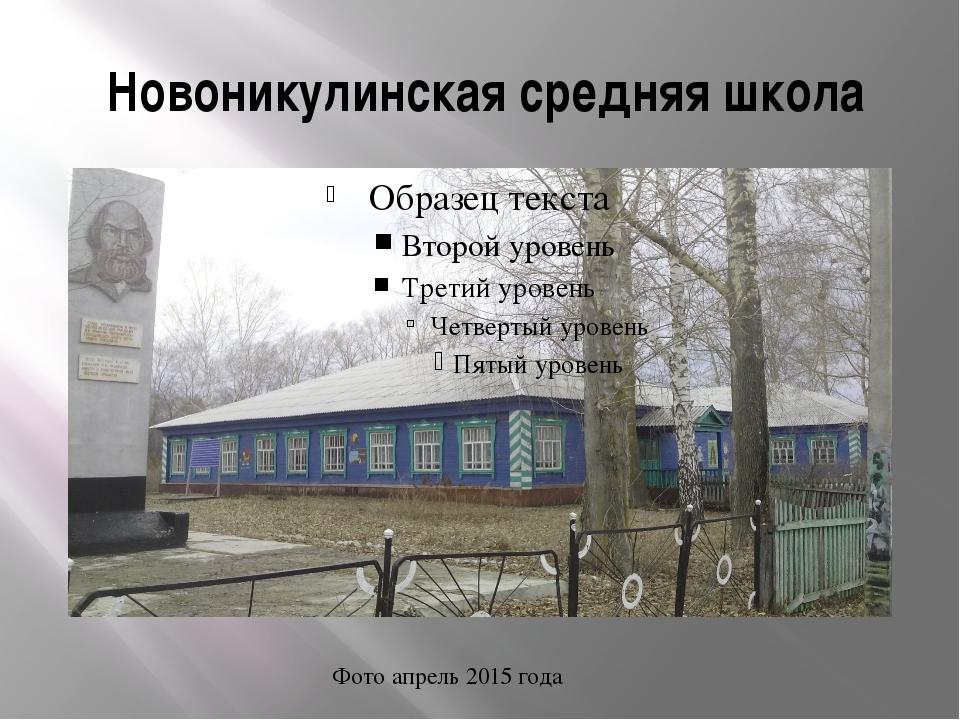 Новоникулинская средняя школа Фото апрель 2015 года