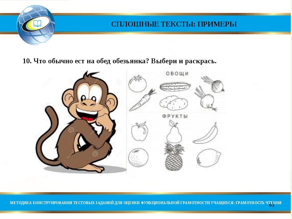 *    10. Что обычно ест на обед обезьянка? Выбери...