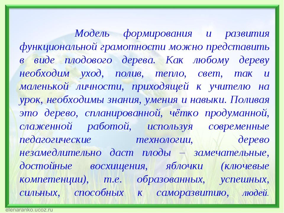 Модель формирования и развития функциональной грамотности можно представить...