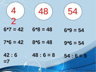 42 48 54 6*7 = 42 7*6 = 42 42 : 6 =7 6*8 = 48 8*6 = 48 48 : 6 = 8 6*9 = 54 9