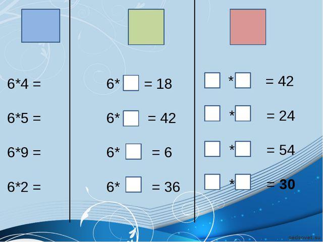 6*4 = 6*5 = 6*9 = 6*2 = 6* = 18 6* = 42 6* = 6 6* = 36 * = 42 * = 24 * = 54...