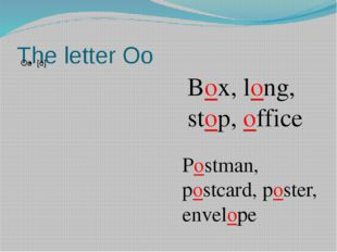 The letter Oo Box, long, stop, office Postman, postcard, poster, envelope