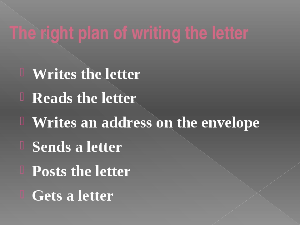 The right plan of writing the letter Writes the letter Reads the letter Write...