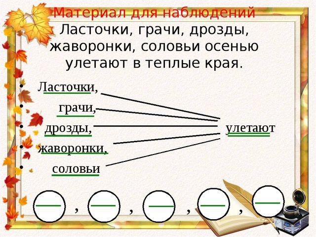 Материал для наблюдений Ласточки, грачи, дрозды, жаворонки, соловьи осенью ул...