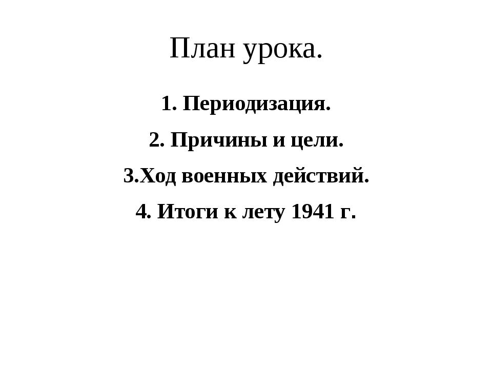 План урока. 1. Периодизация. 2. Причины и цели. 3.Ход военных действий. 4. Ит...