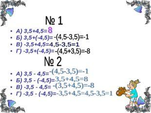 А) 3,5+4,5= Б) 3,5+(-4,5)= В) -3,5+4,5= Г) -3,5+(-4,5)= А) 3,5 - 4,5= Б) 3,