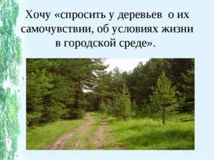 Хочу «спросить у деревьев о их самочувствии, об условиях жизни в городской ср