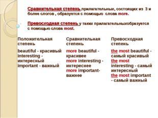 Сравнительная степень прилагательных, состоящих из 3 и более слогов , образуе