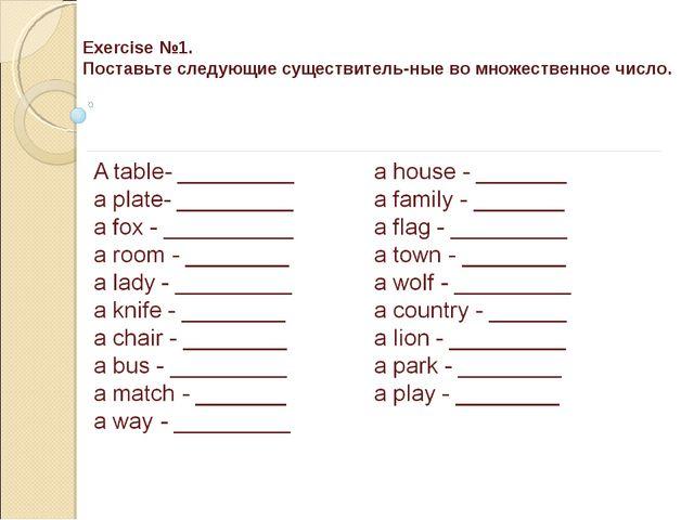 Exercise №1. Поставьте следующие существительные во множественное число.