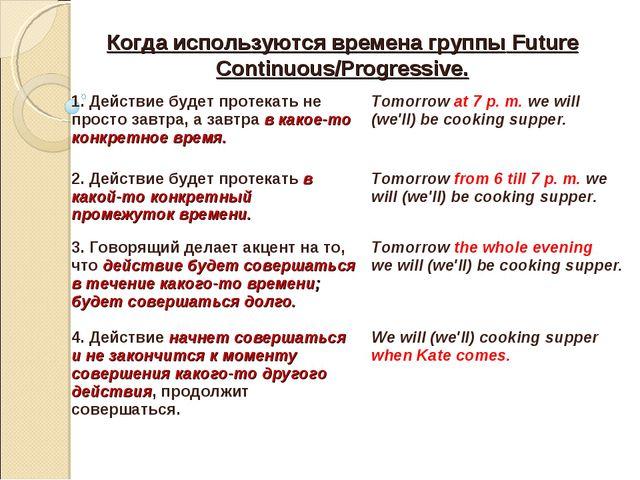 Когда используются времена группы Future Continuous/Progressive. 1. Действие...