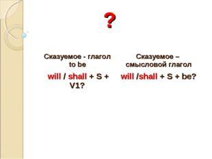 ? Сказуемое - глагол to be Сказуемое – смысловой глагол will / shall + S + V