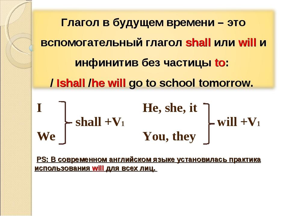 PS: В современном английском языке установилась практика использования will...