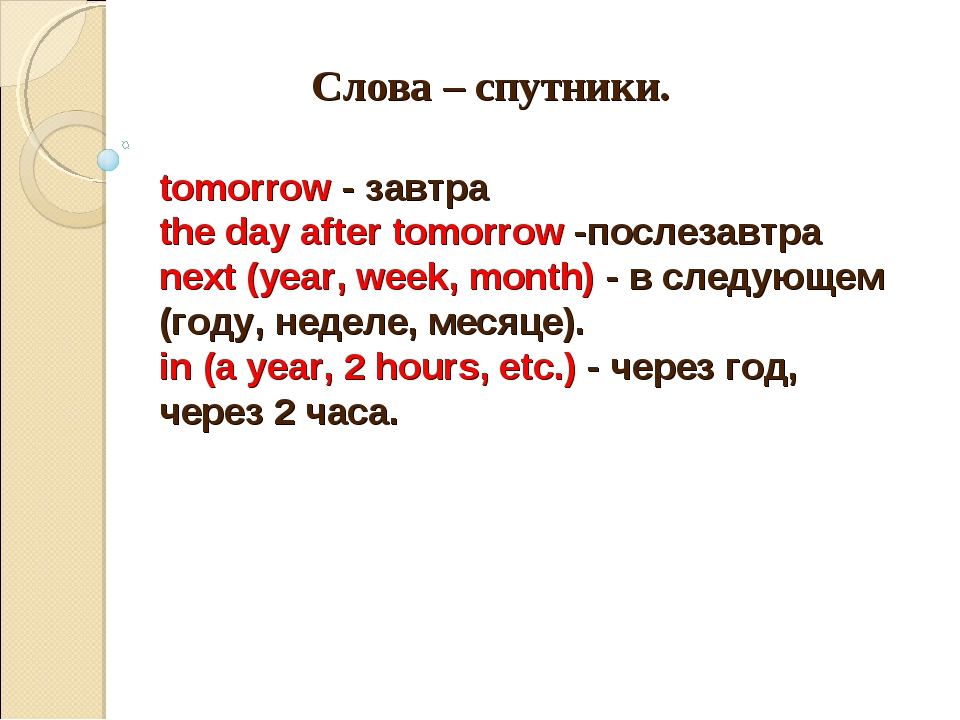 Слова – спутники. tomorrow - завтра the day after tomorrow -послезавтра next...