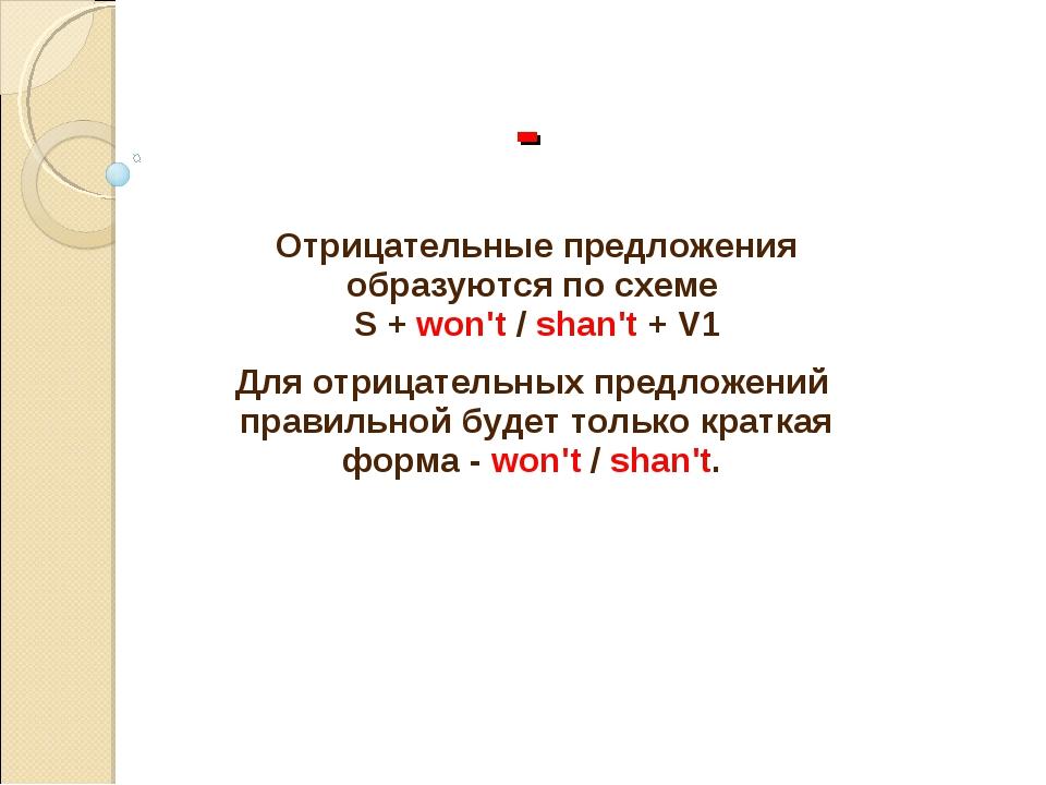 - Отрицательные предложения образуются по схеме S + won't / shan't + V1 Для...