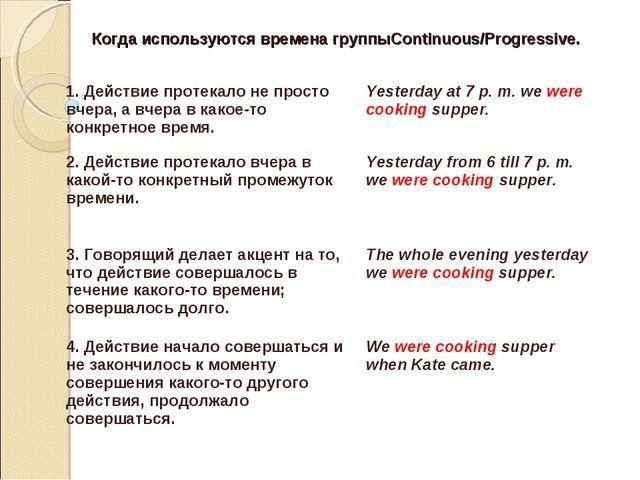 Когда используются времена группыContinuous/Progressive. 1. Действие протекал...
