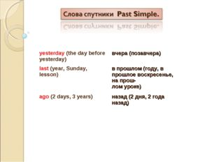 yesterday (the day before yesterday) вчера (позавчера) last (year, Sunday, l