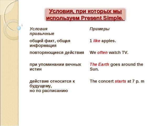 Условия привычные Примеры общий факт, общая информация 1 like apples. повто...