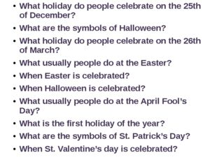 What holiday do people celebrate on the 25th of December? What are the symbol