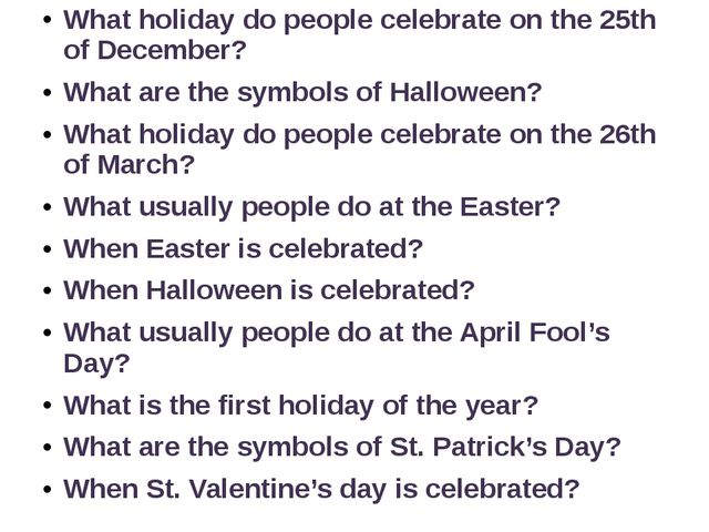 What holiday do people celebrate on the 25th of December? What are the symbol...
