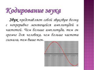 Звук представляет собой звуковую волну с непрерывно меняющейся амплитудой и ч