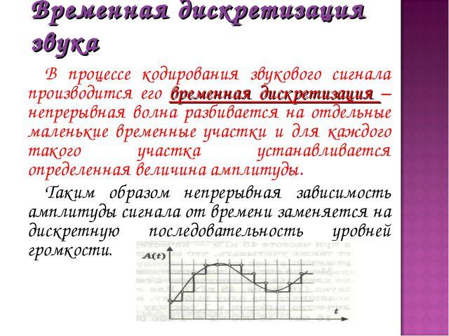 Временная дискретизация звука В процессе кодирования звукового сигнала произв...