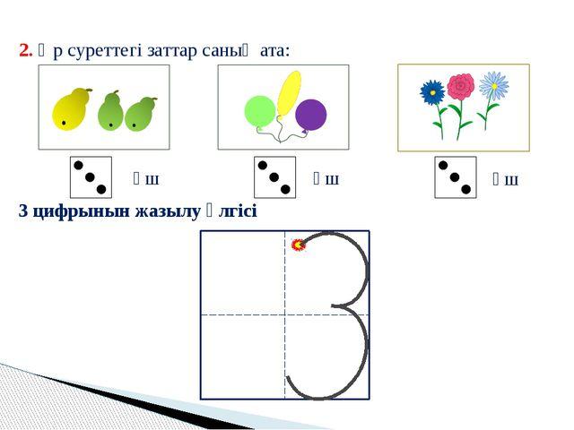 2. Әр суреттегі заттар саның ата: үш үш үш 3 цифрынын жазылу үлгісі