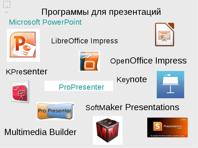Программы для презентаций ProPresenter Microsoft PowerPoint LibreOffice Impre...