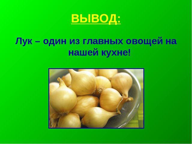 ВЫВОД: Лук – один из главных овощей на нашей кухне!