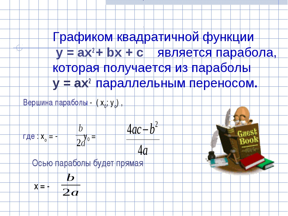 Осью параболы будет прямая х = - Вершина параболы - ( х0; уо) , где : хо = -...