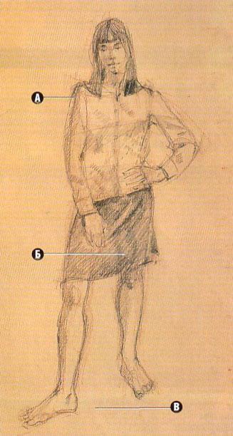 Урок рисования карандашом фигуры человека - результат урока