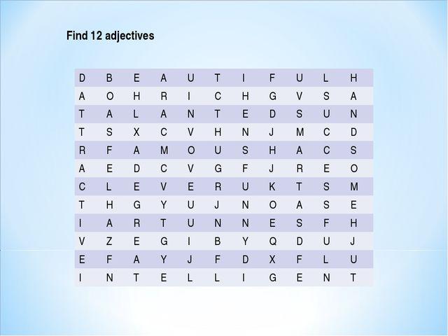 Find 12 adjectives DBEAUTIFULH AOHRICHGVSA TALANTE...