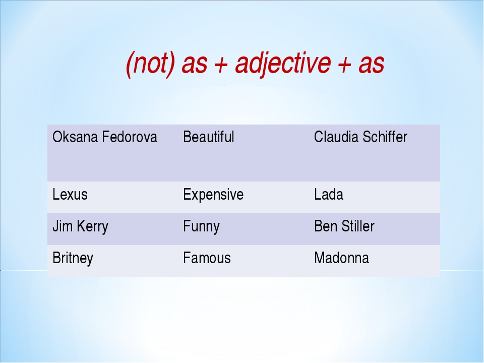 (not) as + adjective + as Oksana FedorovaBeautifulClaudia Schiffer LexusEx...