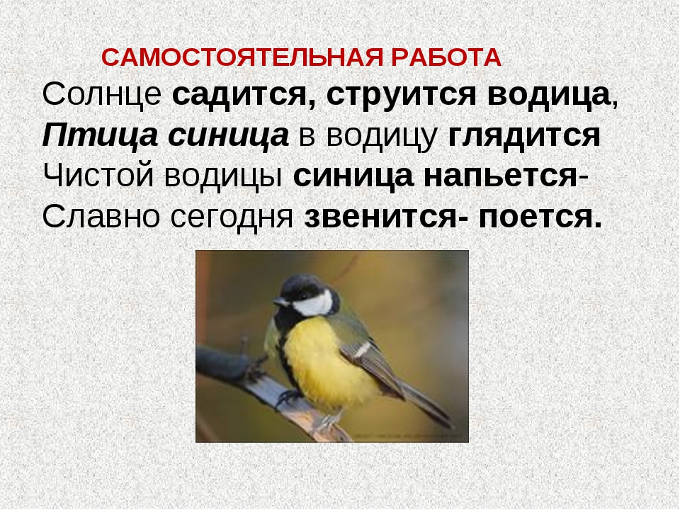 САМОСТОЯТЕЛЬНАЯ РАБОТА Солнце садится, струится водица, Птица синица в водиц...