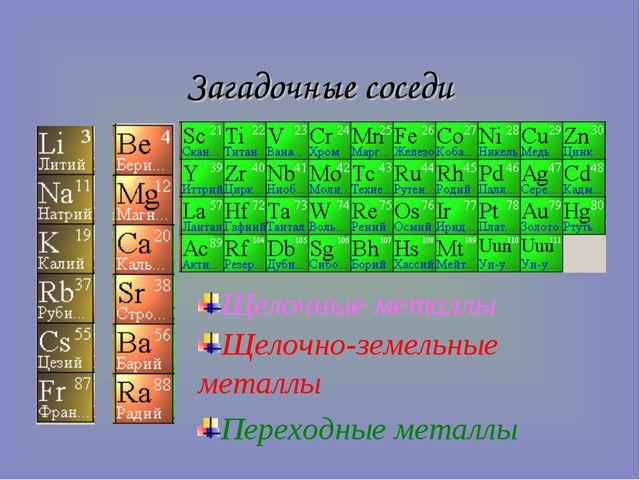 Загадочные соседи Щелочно-земельные металлы Переходные металлы Щелочные металлы
