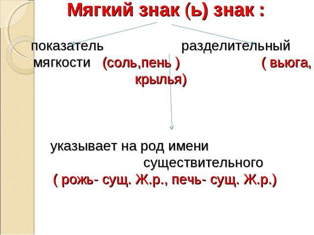 Мягкий знак (ь) знак : показатель разделительный мягкости (соль,пень ) ( вью...