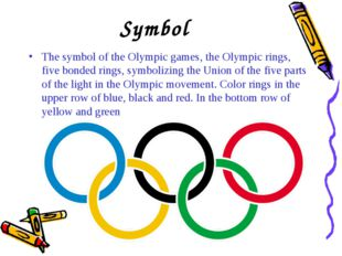 Symbol The symbol of the Olympic games, the Olympic rings, five bonded rings