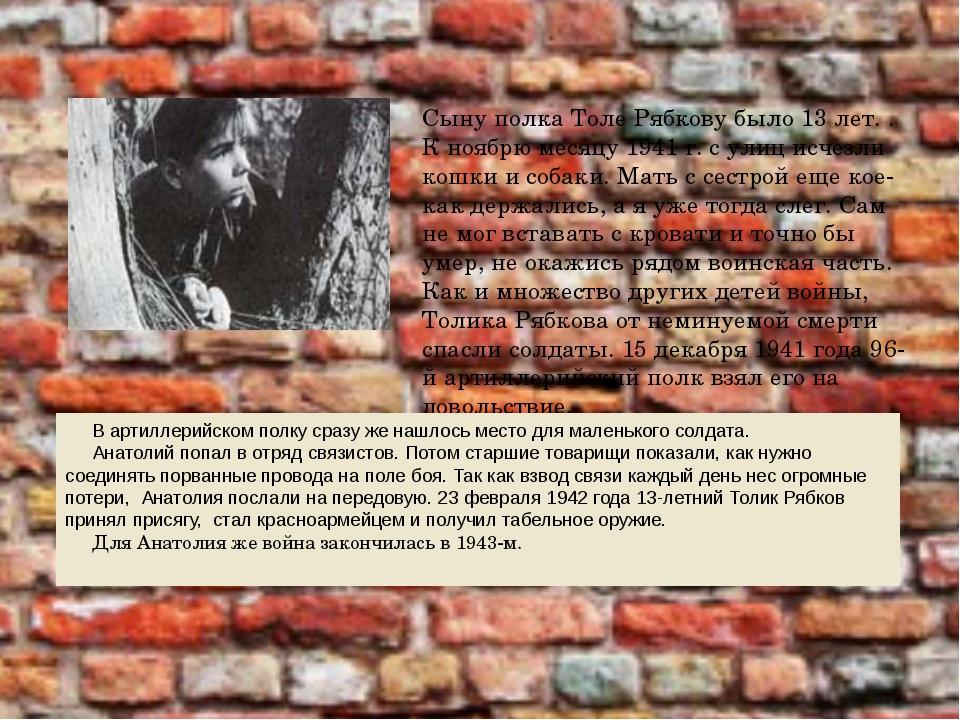 Сыну полка Толе Рябкову было 13 лет. . К ноябрю месяцу 1941 г. с улиц исчезли...