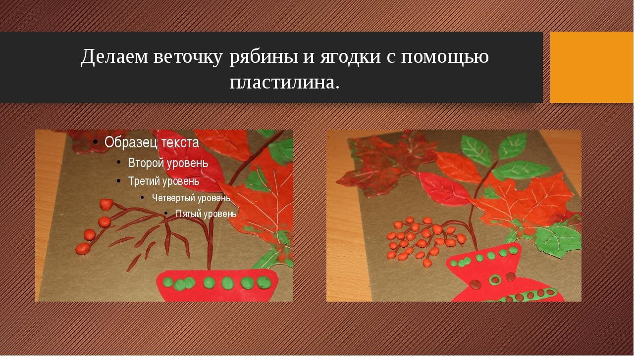 Делаем веточку рябины и ягодки с помощью пластилина. Рождественская И.Б.