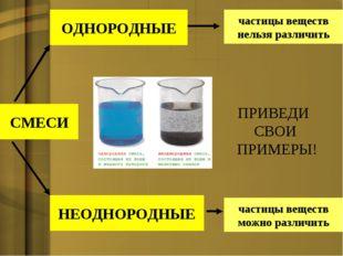СМЕСИ ОДНОРОДНЫЕ НЕОДНОРОДНЫЕ частицы веществ нельзя различить частицы вещест