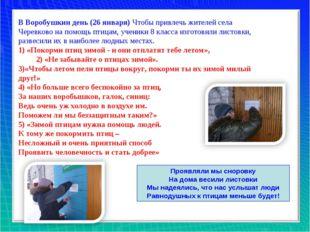 В Воробушкин день (26 января) Чтобы привлечь жителей села Черевково на помощь
