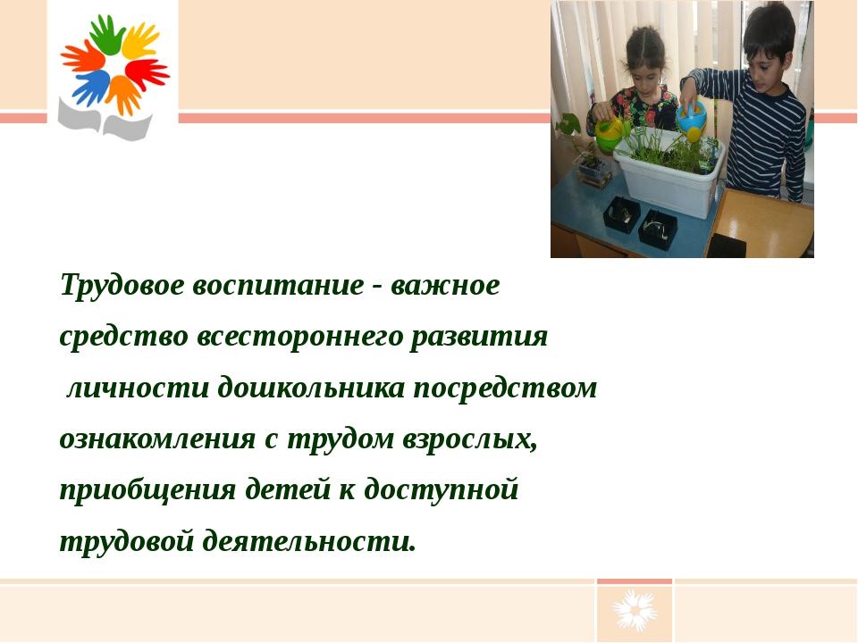 Трудовое воспитание - важное средство всестороннего развития личности дошколь...