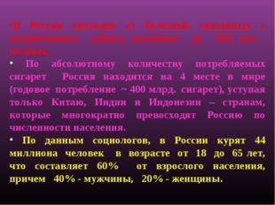 В России ежегодно от болезней, связанных с потреблением табака, погибают до 5
