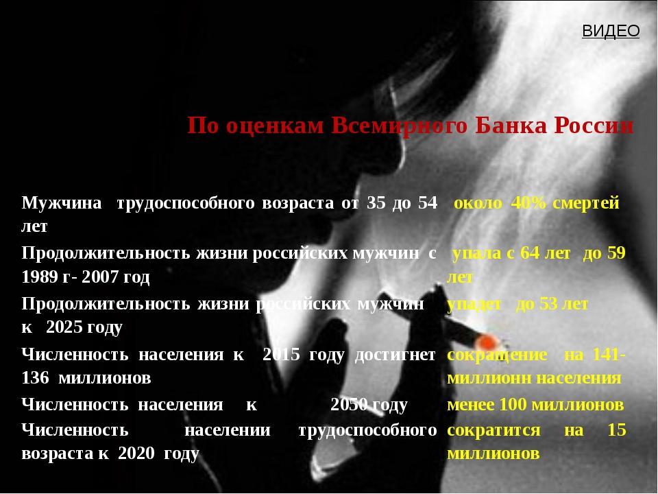 По оценкам Всемирного Банка России ВИДЕО Мужчина трудоспособного возраста от...