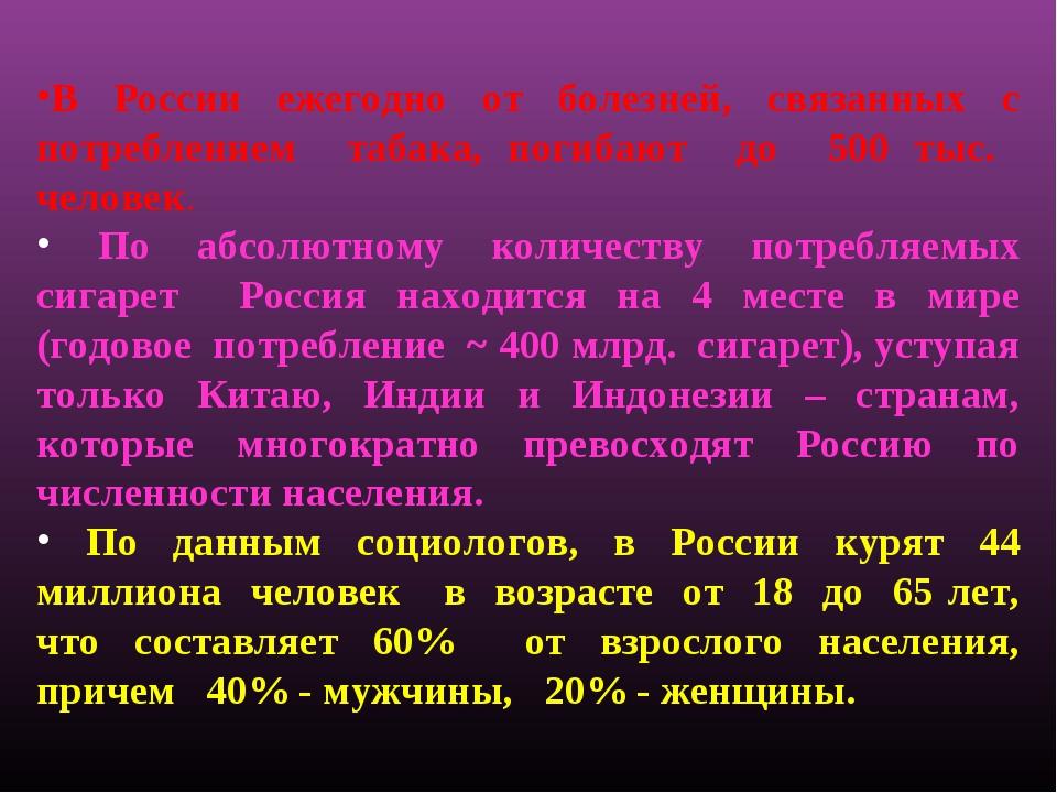 В России ежегодно от болезней, связанных с потреблением табака, погибают до 5...