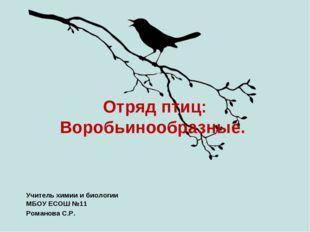 Отряд птиц: Воробьинообразные. Учитель химии и биологии МБОУ ЕСОШ №11 Романов