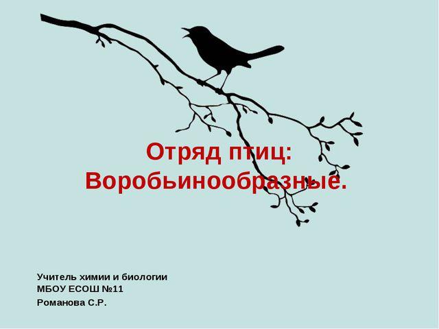 Отряд птиц: Воробьинообразные. Учитель химии и биологии МБОУ ЕСОШ №11 Романов...