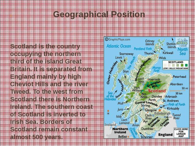Scotland is the country occupying the northern third of the island Great B...