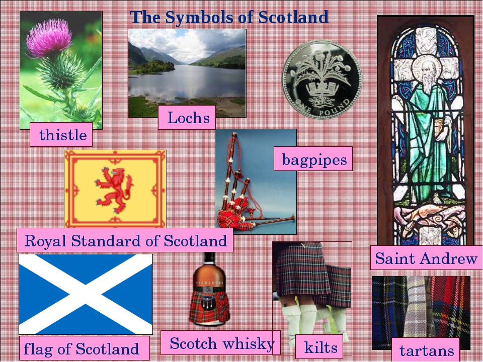 The Symbols of Scotland Scotch whisky tartans flag of Scotland Saint Andrew t...