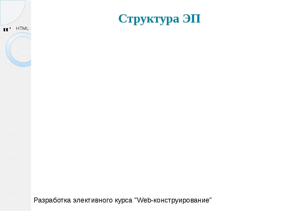 """Структура ЭП Разработка элективного курса """"Web-конструирование"""""""